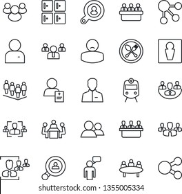 Thin Line Icon Set - spoon and fork vector, train, male, checkroom, speaking man, team, meeting, patient, group, user, company, hr, client search, social media