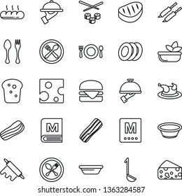 Thin Line Icon Set - spoon and fork vector, cafe, menu, salad, plates, bacon, waiter, bread, chicken, steak, kebab, hamburger, ladle, bowl, rolling pin, sushi, cheese