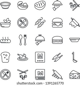 Thin Line Icon Set - spoon and fork vector, cafe, menu, salad, waiter, bread, chicken, steak, kebab, hamburger, ladle, bowl, rolling pin, sushi, cheese