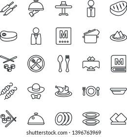 Thin Line Icon Set - spoon and fork vector, waiter, dish, restaurant table, serviette, cafe, menu, plates, dress code, chicken, steak, kebab, bowl, steaming pan, sushi