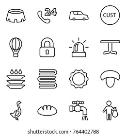 Thin line icon set : stadium, phone 24, car shipping, customs, air ballon, locked, alarm, table, plate washing, towels, induction oven, mushroom, goose, bread, water tap, trash