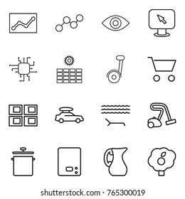 Thin line icon set : statistics, graph, eye, monitor arrow, chip, sun power, cart, panel house, car baggage, lounger, vacuum cleaner, pan, kitchen scales, jug, garden