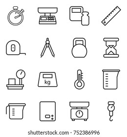 thin line icon set : stopwatch, market scales, weight, ruler, measuring tape, drawing compasses, heavy, sand clock, warehouse, thermometer, cup, kitchen, handle