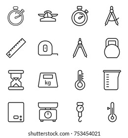 thin line icon set : stopwatch, scales, draw compass, ruler, measuring tape, drawing compasses, heavy, sand clock, thermometer, cup, kitchen, handle