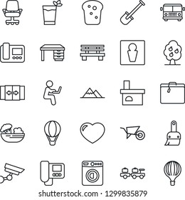 Thin Line Icon Set - suitcase vector, airport bus, automatic door, male, washer, baggage larry, desk, shovel, wheelbarrow, bench, fireplace, heart, themes, fruit tree, mountains, phyto bar, salad