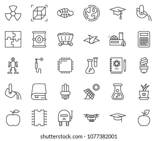 thin line icon set - sun panel vector, leaf, flask, earth, barrel, eco factory, bulb, nuclear, welding, metallurgy, mine trolley, neural network, logbook, graduate hat, calculator, robot, cpu chip