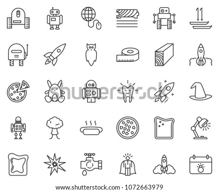 Wandplank 1 Meter.Thin Line Icon Set Super Manager Stock Vector Royalty Free