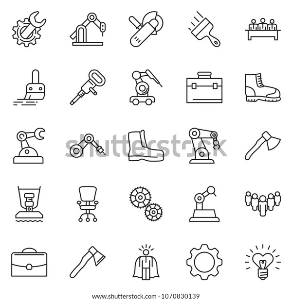 Thin Line Icon Set Super Manager Stock Vector (Royalty Free