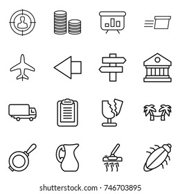 thin line icon set : target audience, coin stack, presentation, delivery, plane, left arrow, singlepost, library, shipping, clipboard, broken, palm hammock, pan, jug, vacuum cleaner, bug