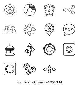 thin line icon set : target audience, circle diagram, alarm clock, core splitting, group, round around, dollar pin, balloon, goverment house, route, lifebuoy, ring button, gears