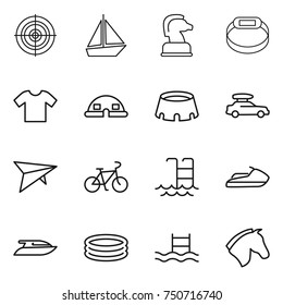 thin line icon set : target, boat, chess horse, smart bracelet, t shirt, dome house, stadium, car baggage, deltaplane, bike, pool, jet ski, yacht, inflatable