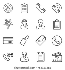 thin line icon set : target audience, clipboard, phone, call, 24 7, center, woman, credit card, label, sale, support manager