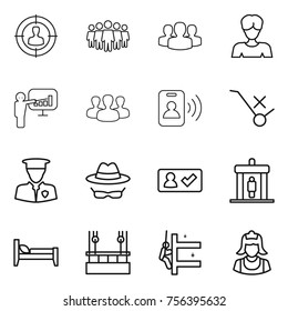 Thin line icon set : target audience, team, group, woman, presentation, pass card, do not trolley sign, security man, confidential, check in, detector, bed, skysrcapers cleaning, skyscrapers