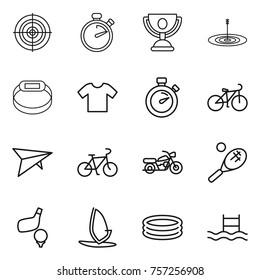 Thin line icon set : target, stopwatch, trophy, smart bracelet, t shirt, bike, deltaplane, motorcycle, tennis, golf, windsurfing, inflatable pool