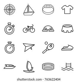 Thin line icon set : target, boat, smart bracelet, t shirt, stopwatch, bike, dome house, stadium, deltaplane, tennis, jet ski, yacht, windsurfing, inflatable pool