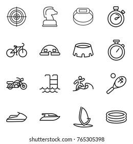 Thin line icon set : target, chess horse, smart bracelet, stopwatch, bike, dome house, stadium, motorcycle, pool, surfer, tennis, jet ski, yacht, windsurfing, inflatable