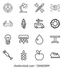 Thin line icon set : target audience, table lamp, pencil wrench, eye identity, smart glasses, spark plug, transfer, lifebuoy, bulb, air conditioning, drop, blender, spikelets, apple, iron