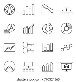Thin line icon set : target audience, graph, crisis, hierarchy, diagram, circle, statistics, structure, up, presentation