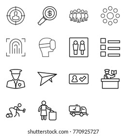 Thin line icon set : target audience, dollar magnifier, team, round around, fingerprint, virtual mask, wc, list, security man, deltaplane, check in, inspector, vacuum cleaner, garbage bin