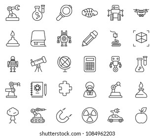 thin line icon set - telescope vector, neural network, flask, logbook, magnet, nuclear, globe, spirit lamp, 3d printer, calculator, robot, manufacture, electric car, puzzle, drone, bang, magnifier