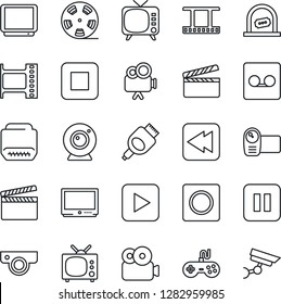 Thin Line Icon Set - ticket office vector, clapboard, film frame, reel, tv, gamepad, video camera, play button, pause, stop, rewind, hdmi, record, web, surveillance