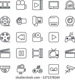 Thin Line Icon Set - ticket office vector, clapboard, film frame, reel, gamepad, tv, video camera, play button, pause, rewind, hdmi, record, web, intercome, surveillance