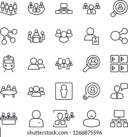 Thin Line Icon Set - train vector, male, checkroom, speaking man, team, meeting, patient, group, user, company, hr, client search, consumer, social media, hierarchy