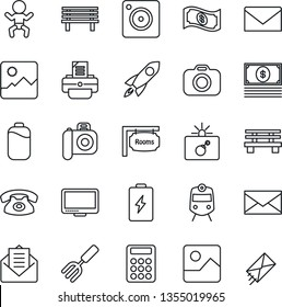 Thin Line Icon Set - train vector, bomb in case, baby, mail, printer, garden fork, bench, camera, monitor, mobile, gallery, battery, calculator, rooms, phone, rocket, cash