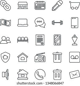 Thin Line Icon Set - trash bin vector, waiting area, mobile phone, pennant, barbell, radio, speaker, cell, dialog, chain, group, record, notebook pc, pencil, contract, house, cafe building, calendar
