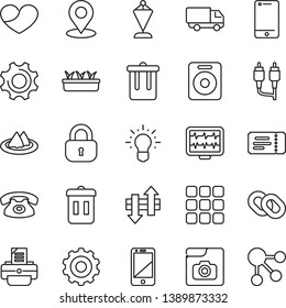 Thin Line Icon Set - trash bin vector, ticket, gear, pennant, printer, seedling, monitor pulse, car delivery, cell phone, chain, speaker, heart, rca, menu, settings, data exchange, place tag, lock