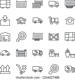 Thin Line Icon Set - truck trailer vector, cargo container, car delivery, sea port, consolidated, warehouse storage, up side sign, no trolley, package, search, moving