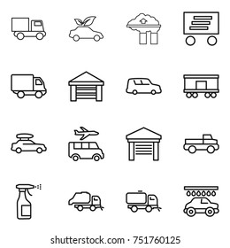 thin line icon set : truck, eco car, factory filter, delivery, garage, shipping, railroad, baggage, transfer, pickup, sprayer, trash, sweeper, wash