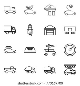 Thin line icon set : truck, eco car, factory filter, electric, delivery, spark plug, garage, railroad shipping, baggage, taxi, transfer, barometer, pickup, trash, sweeper, wash