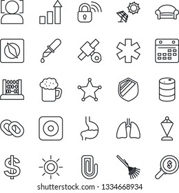 Thin Line Icon Set - waiting area vector, growth statistic, dollar sign, pennant, abacus, rake, sun, dropper, ambulance star, stomach, lungs, satellite, shield, oil barrel, chain, rec button, beer