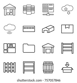 Thin line icon set : warehouse, server, cloude service, cloud wireless, bunker, package box, consolidated cargo, documents, rack, pallet, barrel