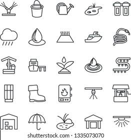 Thin Line Icon Set - watering can vector, bucket, boot, water drop, rain, well, hose, pond, drip irrigation, sea shipping, port, umbrella, warehouse, drink, heater, filter, warm floor, sprinkler