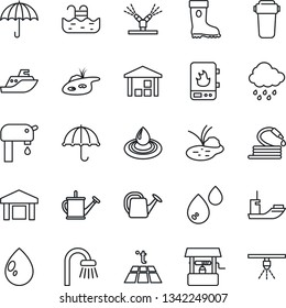 Thin Line Icon Set - watering can vector, boot, water drop, rain, well, hose, pond, sea shipping, umbrella, warehouse, pool, supply, bathroom, irrigation, heater, filter, warm floor, sprinkler