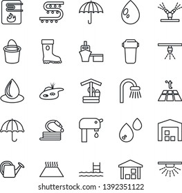 Thin Line Icon Set - watering can vector, bucket, boot, water drop, well, hose, drip irrigation, sea port, umbrella, warehouse, pond, pool, supply, bathroom, heater, filter, warm floor, sprinkler