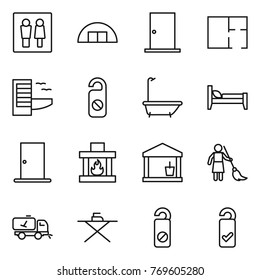 Thin line icon set : wc, hangare, door, plan, hotel, do not distrub, bath, bed, fireplace, utility room, brooming, home call cleaning, iron board, please clean