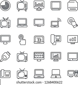 Thin Line Icon Set - wireless notebook vector, radar, pc, statistic monitor, pulse, tv, touch screen, laptop, hdmi, statistics, intercome