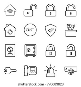Thin line icon set : wireless home, unlock, lock, smart house, customs, protected, inspector, passport, safe, locked, unlocked, key, intercome, alarm, surveillance camera