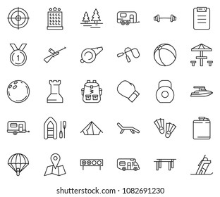 thin line icon set - yacht vector, camper, camp trailer, ball, paintball, tent, bag pack, weight, barbell, jump rope, box, whistle, beams, bowling, clipboard, medal, biathlon, target, hotel, forest