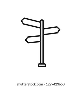 Thin line icon of signpost, information, direction, arrow. Editable vector stroke 64x64 Pixel.