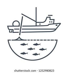 thin line icon trawler, seiner ship, fishing net