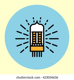 Thin Line Icon. Vacuum Tube. Simple Trendy Modern Style Round Color Vector Illustration.