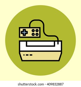 Thin Line Icon. Vintage Game Console. Simple Trendy Modern Style Round Color Vector Illustration.
