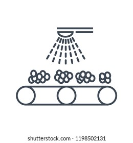 thin line icon washing and cleaning fruits and vegetables, factory conveyor