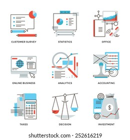 Thin line icons of business planning process, company accounting organization, customer survey, corporate tax optimization. Modern flat line design element vector collection logo illustration concept.