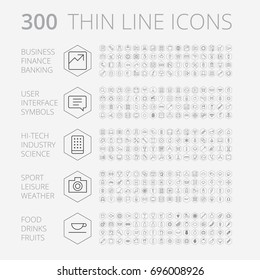 Thin Line Icons For Business, Technology and Leisure. Vector eps10.