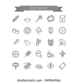 Thin line icons - chinese new year, traditional symbols, decorations, gifts